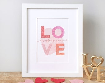 Valentines Day printable art, instant download LOVE