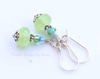 Green Polka Dot Lampwork Sterling Silver Earrings Blue Green Czech Glass Bell Flowers Swarovski Crystals Fused Fine Silver Hoops