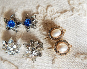 Pair of Vintage Trifari Signed Pearl Rhinestone Clip Earrings and Two Other Earlier Pairs of Vintage Rhinestone Clip Earrings