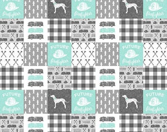 FireFighter Quilt, Toddler Quilt Boy, Patchwork Baby Quilt, Fire Truck, Turquoise Teal Gray Grey Baby Boy Quilt, Crib Bedding, Minky Blanket