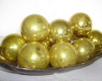 gold Christmas ornaments - vintage glass balls with faded mottled patina - shabby cottage chic - ornate hollywood regency set of 11