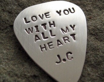 GUITAR PICK / GUITAR PLECTRUM - SINGLE SIDED Sterling Silver Hand Stamped Personalized / Customized Guitar Pick