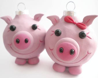 Pig Christmas Ornaments, FREE SHIPPING
