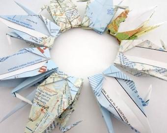 "LAST SET 20 Large 6x6"" Vintage Maps Origami Cranes"