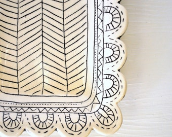 Made to Order- Scalloped Rectangle Serving Dish with Black and White Carved Design- Chevron Pattern