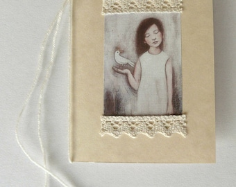 Folded card with illustration + lace, wool strap and beads
