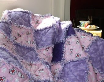 Ragtime Quilt, Rag Quilt, Girl Bedding, Polar Bear Fabric Blanket, Flannel Quilt, Flannel Blanket, Rag Quilt Throw