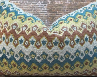 Designer Pillow Cover 12 x 16 - Gisel Flamestitch Chenille Teal Green