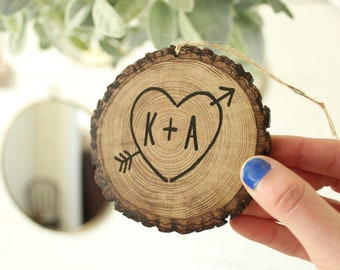 Faux Wood Slice Ornament Engraved Faux Wood Slice Ornament Wedding Gift First Christmas Ornament