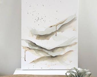Minimal landscape painting, neutral colours, peaceful, calm painting, modern landscape, abstract landscape, hygge art, Scandinavian style