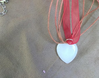 Red Rose Quartz Heart Pendant Crystal Choker