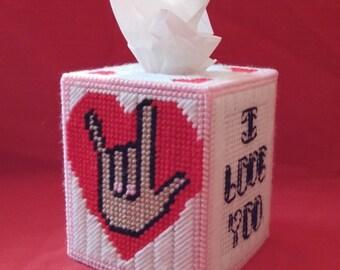 I Love You Sign Language Valentine Tissue Box Cover