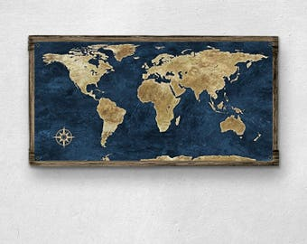World Map METAL Print on Barnwood Frame FREE SHIPPING