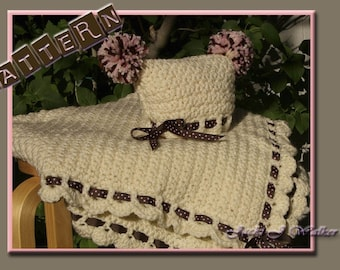 The Cupcake Baby Blanket with Matching Sack Hat Crochet PDF Pattern