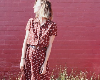 Vintage floral collared maxi dress