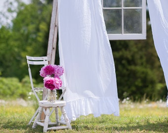 Ruffled Linen Curtains with a 5 inch Ruffle at Bottom