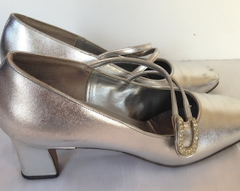 Silver 70's Pumps Size 7