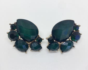 Gold Plated imitation Green Stones Earrings