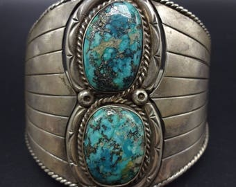 Heavy Vintage NAVAJO Sterling Silver & MORENCI TURQUOISE Cuff Bracelet 78g