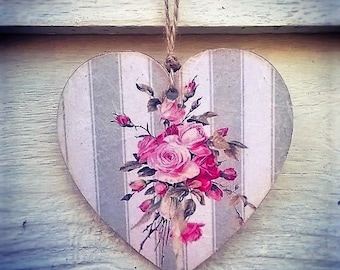 Hanging Heart, Wooden Heart, Floral Heart, Vintage Style, Hanging Wooden Decoupage Heart
