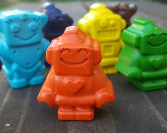 Robot Crayons set of 24 - Robot Party Favors - Robot Party - Robot Birthday - Kids Gifts - Gifts For Kids - Shaped Crayons - Class Favors
