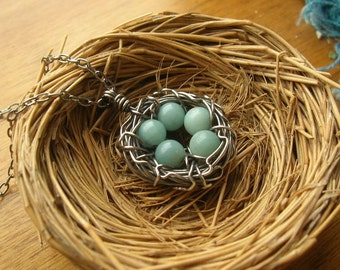 Custom Rustic Robin's Nest Necklace Bird nest necklace sterling silver nest necklace, you choose number of eggs Mothers or grandmothers gift