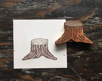 Hand Carved Tree Stump Rubber Stamp