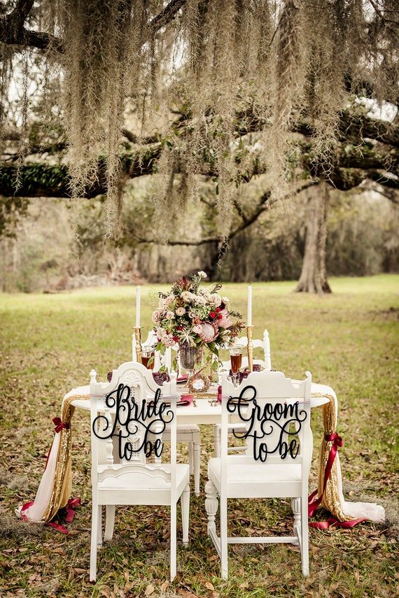 Coed Bridal Shower, Bridal Shower Chair Signs, Jack and Jill Bridal Shower, Bride to Be and Groom to Be Chair Signs