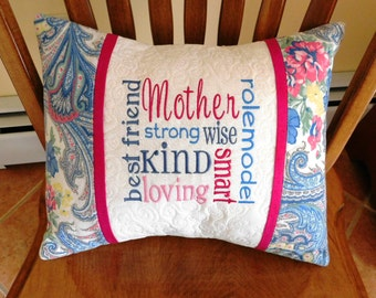 """CUSTOM MOTHER 16""""x12"""" embroidered, personalized quilted pillow COVER; mother gift, quilted pillow sham, custom embroidered gift"""