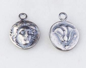 15mm Roman, Greek Medallion Coin Charm in Oxidized Sterling Silver, Medallion Pendant, Ancient Roman, Greek Coin Charms,Double Sided HCIN254