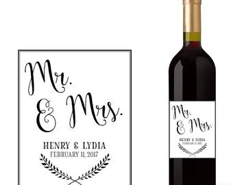 Wedding Wine Bottle Labels with Mr. & Mrs.