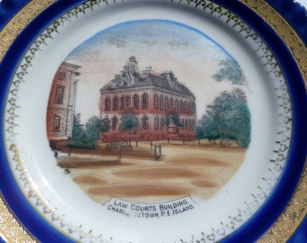 vintage souvenir plate of the law courts building on prince edward island