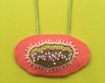 Oval Coral Embellished Necklace