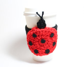 Coffee Cozy Ladybug, Crochet Coffee Sleeve, Insect Travel Cup Holder, Can Holder, Java Jacket