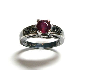 """Ruby ring, oxidized silver ruby,  solitaire ring, engagement ring, anniversary ring, red black, s 6 1/2     """"Red Smoke"""""""