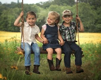 Reclaimed wood bench swing – Hanging rope swing – Rustic barn wood – Backyard porch – Country summer fun – Photo prop
