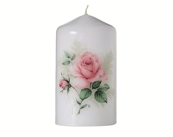 Floral  Bouquet Scented Rose  Pillar Candle