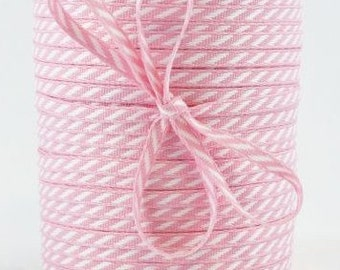 CLEARANCE Solid/Diagonal Striped Ribbon - Pink and White - 3 yd bundle