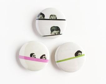 Set of Three 25mm Button Badges - Peekaboo