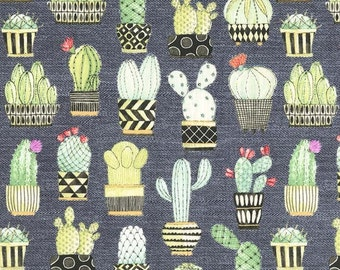 Michael Miller Fabric Cactus Hoedown in Gray, Choose your cut