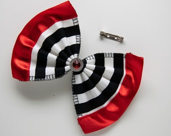 Brooch pin striped bow red ribbon with red stone