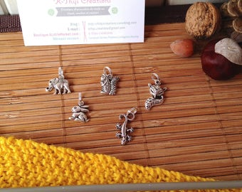 Stitch markers x 5 - Pack 41 birds - MAMMALS - for knitting needles to 5.5 silverplate