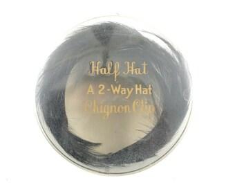 Black Feather Half Hat with Original Box