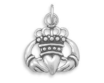 Sterling Silver Claddagh Charm, Qty1
