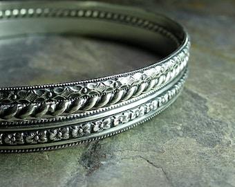 Bangle Bracelet Set sterling silver pattern wire stacking - English Garden