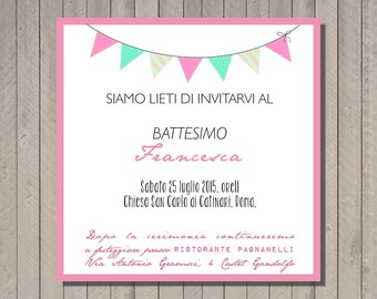 PDF, Baptism invitation card with bunting, printable custom birthday invititation- baby shower diy