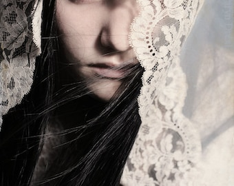 Thinly Veiled - FREE SHIPPING Fine Art Photo Print Girl Bride Vintage Lace Wind Cream Blue Eye Face Wind Surreal Image Portrait Wall Decor