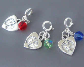 Clip-on Sterling Silver Baby Foot Prints Feet Heart Charm July August or September  Birthstone Month, Made in USA