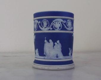 Antique Wedgwood Cobalt Blue Jasperware Toothpick Holder Vase
