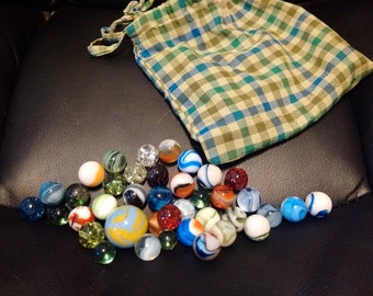 Vintage Marble Collection with Handmade Carrying Bag